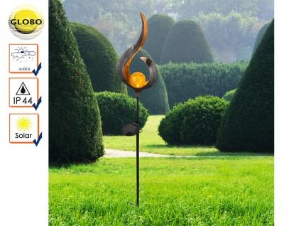 LED Solarleuchte Metall bronzefarben Glaskugel, Erdspießleuchte Gartenleuchte