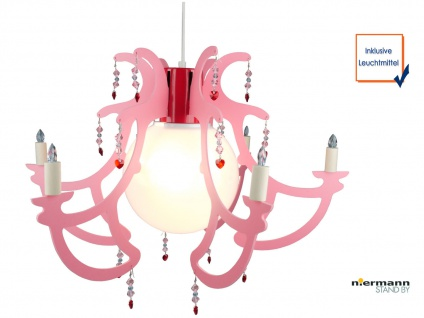 LED Hängelampe Kinderzimmer rosa LED Kinderzimmerleuchte Kronleuchter ROSATA