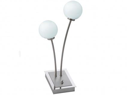 2 flammige LED Tischleuchte Design modern mit Glaskugeln opal matt, Tischlampe