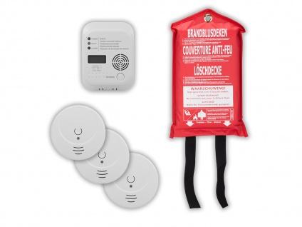 Brandschutz-Set8 (3x Rauchmelder, CO-Melder, Löschdecke) Rettungsset