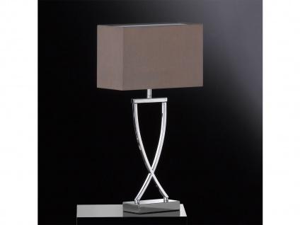 Große LED Tischleuchte & Hockerlampe - Metall Chrom mit Lampenschirm Stoff Braun