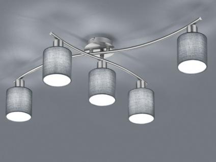 5 flammige Deckenleuchte GARDA schwenkbar mit grauen Stoffschirmen, Deckenlampe