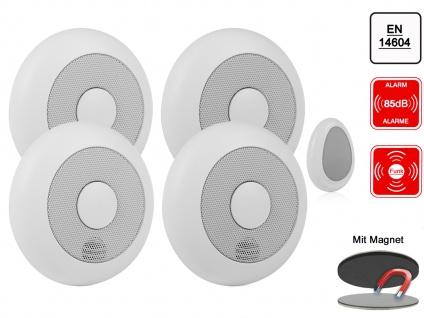 4er-Set funkvernetzbare Rauchmelder mit Fernbedienung + Magnet Funkrauchmelder