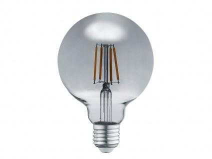 Dekoratives 6 Watt Filament LED Leuchtmittel aus rauchfarbigem Glas, rund & groß