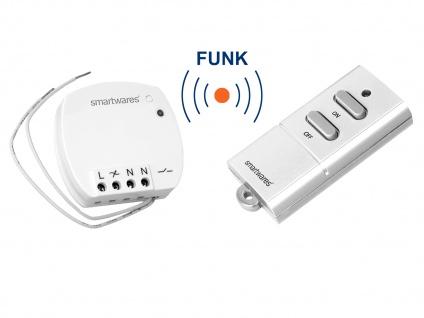 Funk Schalter Set = Mini Funk-Einbauschalter + Mini Fernbedienung bis 400 Watt