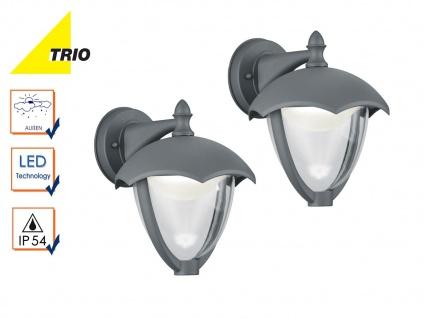 2er Set LED Außenwandleuchten GRACHT anthrazit, Laternen Außenbeleuchtung Haus