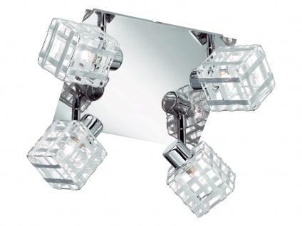 LED Deckenstrahler eckig Alu-Drahtgeflecht in Chrom, 4 flammiger Spot schwenkbar