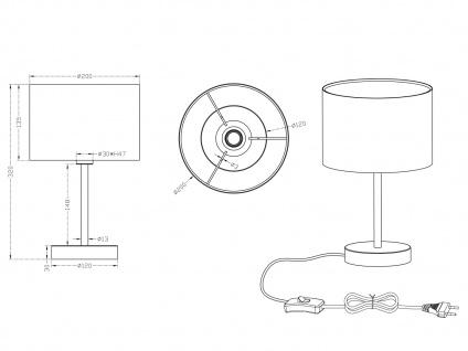 TRIO Design Nachttischleuchte Lampenschirm Stoff rund weiß Ø20cm E14 - Flurlampe - Vorschau 4