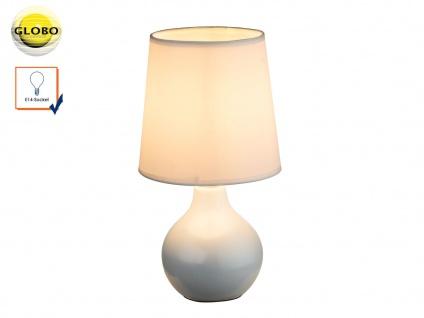 Globo Tischleuchte VESUV weiß, Keramik Lampenschirm Seide, Tischlampe klassisch