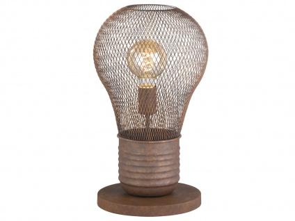 Vintage LED Tischleuchte aus rostfarbenem Metall, Tischlampe im Industrielook