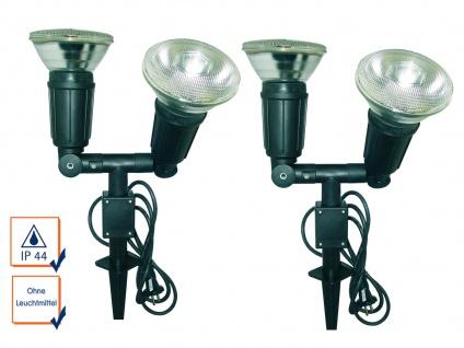2er SET Gartenscheinwerfer mit Erdspieß, 120° drehbar, IP44, für PAR38 je 50W