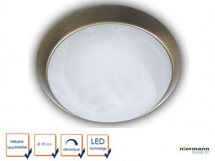 LED-Deckenleuchte, Glas Alabaster, Altmessing, Ø 35cm, LED Bürobeleuchtung