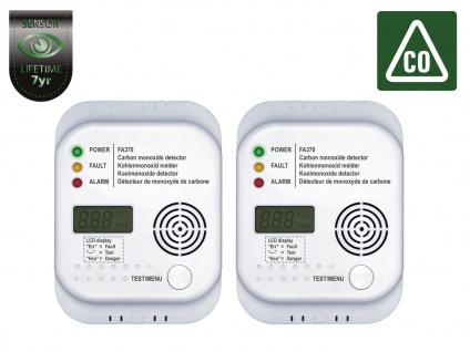 2er-Set Kohlenmonoxid Melder mit Display und Temperaturanzeige, CO-Alarm
