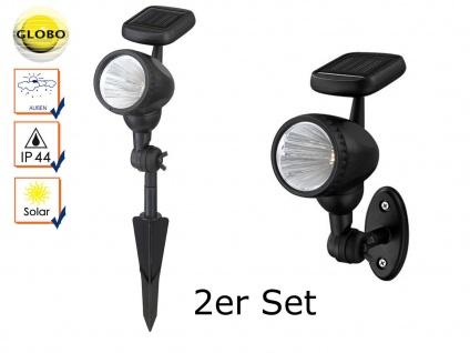 2er Set LED Solarleuchten mit Erdspieß oder Außenwandleuchten, Gartenlampen