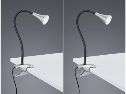 2er SET LED Klemmleuchten flexibel Schwanenhalslampe silber Schreibtischlampe