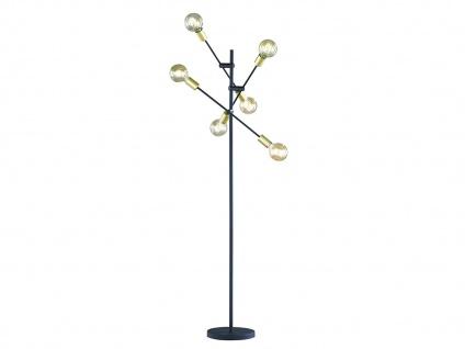 Große Stehleuchte 165cm hoch Ø 54, 5cm mit schwenkbaren Armen schwarz matt bronze