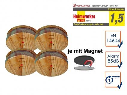 4er SET Rauchmelder Holzoptik mit EASY Magnethalterung, Feuermelder Feueralarm