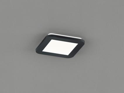 Kleine LED Deckenleuchte CAMILLUS flache Badezimmerlampe 17x17cm Schwarz IP44