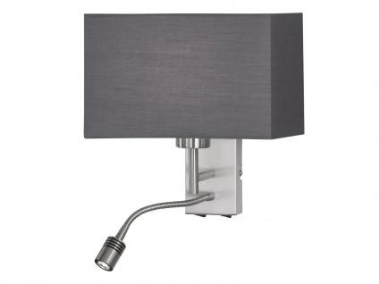 LED Wandleuchte mit beweglichem Arm, Leselampe für Wandmontage, Stoffschirm grau