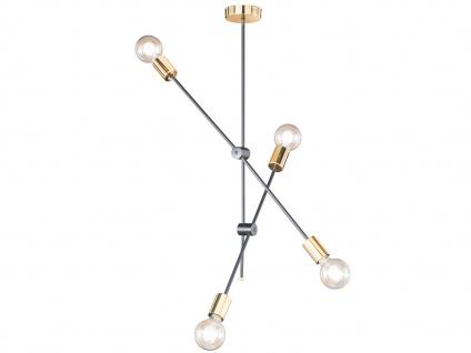 Retro Desing Pendelleuchte 4x LED Arme schwenkbar Schwarz/Gold - fürs Esszimmer