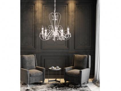 Moderner Kronleuchter in weiß, Glasbehang klar, Honsel-Leuchten, PRISMA - Vorschau 4