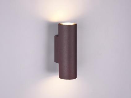 Dimmbare LED Wandbeleuchtung für Innen mit Up & Down Spots, rostfarbige Strahler