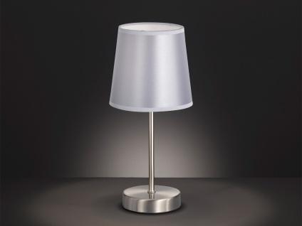 Design LED Nachttischleuchte mit Lampenschirm Stoff Silber Ø 14cm - Flurlampen