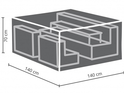 Schutzhüllen Set: Abdeckung 140x140cm für Garten Lounge + Hülle für 6-8 Auflagen - Vorschau 3