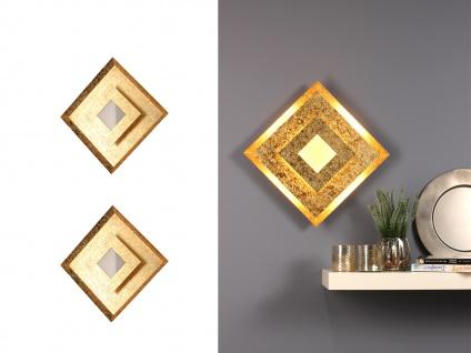 LED Wandleuchten für den Innenbereich, 2er SET Blattgoldoptik Design eckig klein