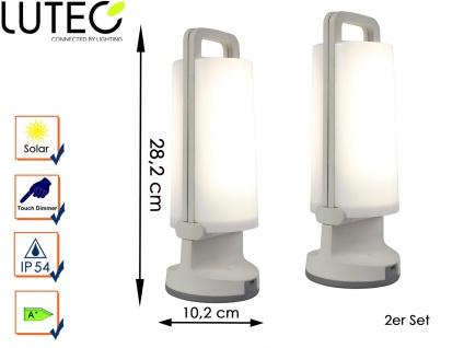 2 Universal LED Solarleuchten mit USB Ladefunktion dimmbar IP54 H. 28, 2cm Weiß