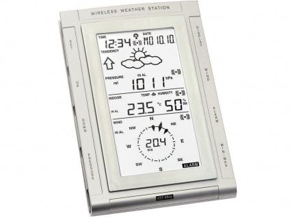 Wettercenter mit Wettervorhersage, Funkuhr, inkl. 3 Außensender, silber