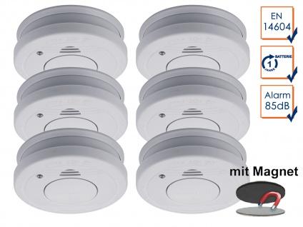 6er-Set Rauchmelder mit Magnethalter, Batteriewarnung & Testtaste, EN14604