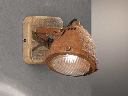 1 flammiger & dimmbarer Industrial LED Wandstrahler Holz mit Metall rostfarbig