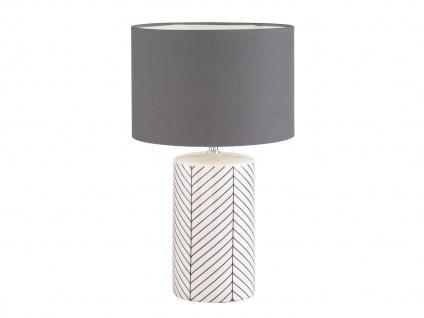 Kleine Tischleuchte Stoffschirm grau mit 4Stufen Dimmer Touchfunktion Flurlampe