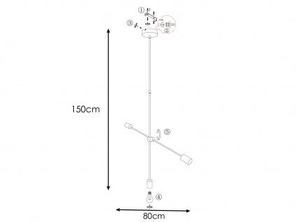 Retro Desing Pendelleuchte 3x LED Arm schwenkbar Nickel matt/Chrom für Esszimmer - Vorschau 5