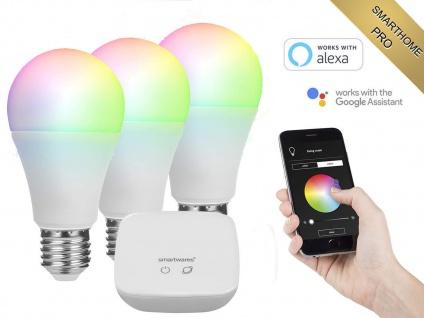 3er Set intelligente E27 Funk Leuchtmittel Smarthome PRO - dimmbar & RGB Farben