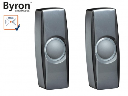 2Stk. beleuchtete Klingeltaster schwarz für drahtlos Türklingeln Byron BY-Serie