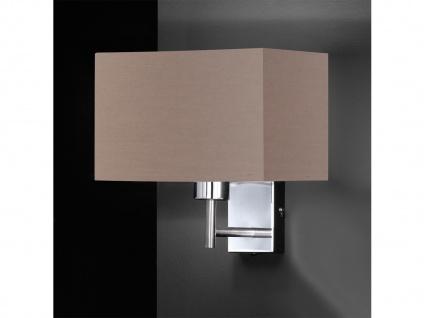 LED Wandleuchte mit Schalter, Nickel matt Schirm eckig braun, Wohnraumleuchten