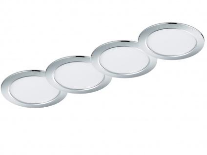 LED Einbaustrahler Decke 4er Set rund dimmbar Chrom glänzend 18W Deckenleuchten