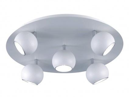 Großer runder Deckenstrahler Ø50cm 5 Spots sind dreh + schwenkbar in weiß matt