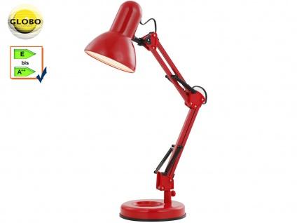 Globo Schreibtischlampe FAMOUS rot, beweglich, E27, Lampe Leuchte Schreibtisch