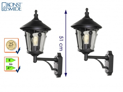 2er Set Konstsmide Außenwandleuchte VIRGO schwarz, Laterne Leuchte Hauswand E27 - Vorschau 1
