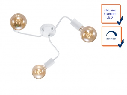 Dimmbare Retro Deckenleuchte LED rund aus Metall in weiß matt, Eßzimmerleuchte - Vorschau 3