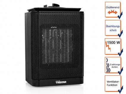 Oszillierender Camping Elektroheizer Keramik 1500W mit Thermostat & Ventilator