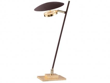 Design LED Nachttischleuchte 4, 5 Watt Braun/Gold schwenkbar Höhe 43cm Dekolampen