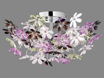 Florale LED Deckenlampe Chrom Acrylglas Ø51cm mit bunten Blüten, Wohnzimmerlampe