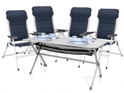 Campingmöbel mit ALU Campingtisch Rolltisch und 4er SET Campingsstühle klappbar