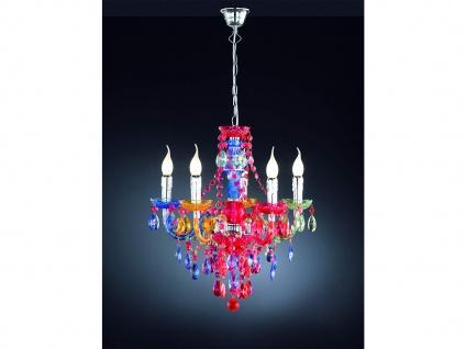 Kronleuchter 5 flammig großer Lüster Ø52cm mit Kristall Behang aus Acryl in Bunt