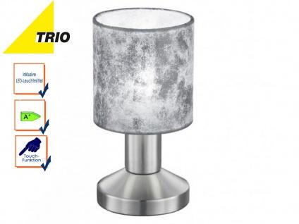 Trio Tischlampe GARDA mit LED, Schirm Stoff silber, Tischleuchte Nachttischlampe