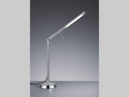 Ausgefallene stufenlos dimmbare LED Schreibtischlampe 85 cm hoch in Nickel matt
